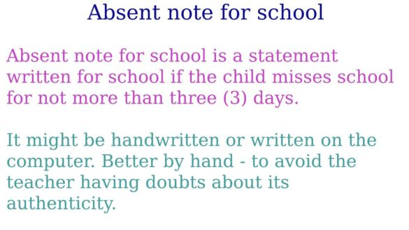 Absent note for school - How to write a note about the absence of a child?